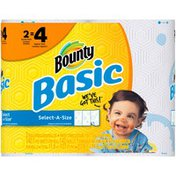 Bounty Basic Bounty Basic Select-A-Size Paper Towels, Print, 2 Double Rolls = 4 Regular Rolls Towels/Napkins