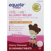 Equate Allergy Relief, Children's, Chewable Tablets, Cherry Flavored