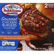 Bell & Evans Chicken Burgers, Chicken Bacon & Sharp Cheddar