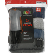 Fruit of the Loom T-Shirts, Crews, Tag Free, Assorted Colors, Medium, 38 - 40 Inches, Dual Defense