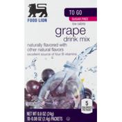 Food Lion Drink Mix, Sugar Free, Low Calorie, Grape, To Go, Box