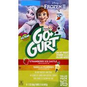 Go Gurt Yogurt, Low Fat, Strawberry Ice Castle/Vanilla Flurries, Frozen II, Value Pack