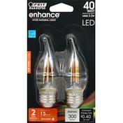 Feit Electric Light Bulbs, LED, Soft White, 3.3 Watts