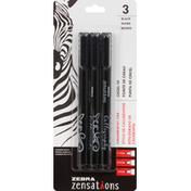 Zebra Calligraphy Pens, Black, Chisel Tip
