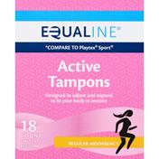 Equaline Tampons, Active, Regular Absorbency, Unscented