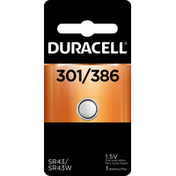 Duracell Battery, Silver Oxide, 301/386