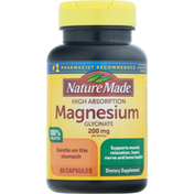 Nature Made Magnesium Glycinate, High Absorption, 200 mg, Capsules