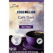 Food Lion Coffee, Dark Roast, Cafe Dark, Single Serve Cups