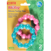 Nûby Teether Ring, Silicone, 3+ Months, 2 Pack