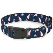 """Buckle-Down 1"""" Wide Plastic Clip Sailboat, Anchor & Helm Scattered 9-15"""" Neck Dog Collar"""