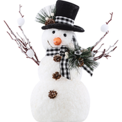 Gerson Holiday Snowman, with Pine and Fabric Bow Accent, 14 Inch