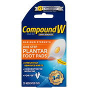 CompoundW Maximum Strength One Step Plantar Medicated Foot Pads Wart Remover