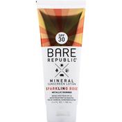 Bare Republic Sunscreen Lotion, Metallic Shimmer, Sparkling Rose, Broad Spectrum SPF 30