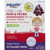 Equate Pain & Fever, Children's, Chewable Tablets, Grape Flavor