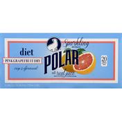 Polar Sparkling Beverage, Diet, Pink Grapefruit Dry