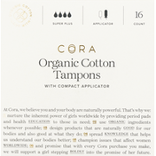 Cora Tampons, Organic, Cotton, with Compact Applicators, Super Plus