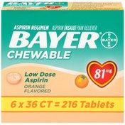 Bayer Chewable Orange Flavored Low Dose Aspirin Regimen Tablets Pain Reliever