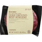 GreenWise Beef Burgers, Lean, 92%/8%, Ground