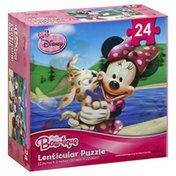 Disney Puzzle, Lenticular, Minnie Mouse Bow-tique, 24 Piece
