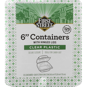First Street Containers with Hinged Lids, Clear Plastic, 6 Inch