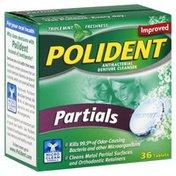 Polident Antibacterial Denture Cleanser, Partials, Tablets, Triple Mint Freshness