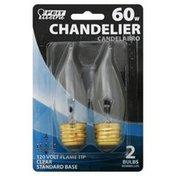 Feit Electric Light Bulb, Chandelier, Standard Base, 60W