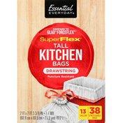 Essential Everyday Tall Kitchen Bags, SuperFlex, Drawstring, 13 Gallon