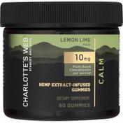 Charlotte's Web Hemp Extract, Calm, 10 mg, Infused, Gummies, Lemon Lime Flavor