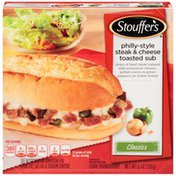 Stouffer's Strips of beef steak topped with Provolone cheese, grilled onions & green peppers on Italian bread Philly-Style Steak & Cheese Toasted Sub
