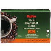 Hy-Vee Light Roast Decaf Breakfast Blend 100% Arabica Coffee Single Serve Cups