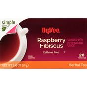 Hy-Vee Herbal Tea, Raspberry Hibiscus, Tea Bags