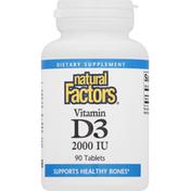 Natural Factors Vitamin D3, 2000 IU, Tablets