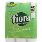 Fiora Bath Tissue, Soft & Strong, Double Rolls, Unscented, 2-Ply