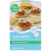 Food Club Weavables, Reduced Fat Baked Whole Wheat Crackers