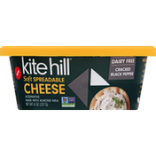 Kite Hill Cheese, Soft, Spreadable, Cracked Black Pepper, Dairy Free