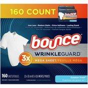 Bounce Wrinkleguard Mega Dryer Sheets, Fabric Softener And Wrinkle Releaser