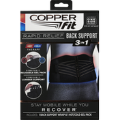 Copper Fit Back Support, Rapid Relief, 3 In 1, 38 In-48 In, Unisex