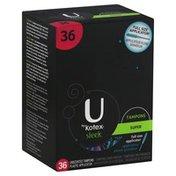 U by Kotex Tampons, Plastic Applicator, Super, Unscented