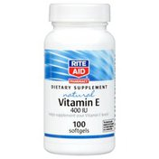 Rite Aid Vitamin E 268.5 mg (400 IU) helps support a healthy cardiovascular system natural DIETARY SUPPLEMENT softgels