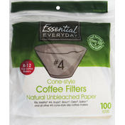 Essential Everyday Coffee Filters, Cone-Style, No. 4, Natural Unbleached Paper, 8-12 Cup