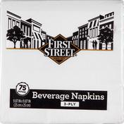 First Street Napkins, Beverage, White, 3-Ply
