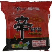 Nongshim Noodles Soup, Shin Ramyun, Gourmet Spicy, Family Pack