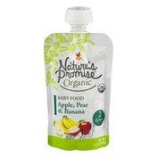 Nature's Promise Organic Baby Food Apple, Pear & Banana 6m+