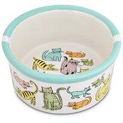 "Harmony 3"" H X 6.25"" Diameter Cat Town Ceramic Cat Bowl"