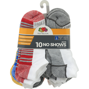 Fruit of the Loom Socks, No Shows, Boys, Large