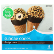 Food Club Fudge Core Sundae Vanilla Ice Cream With Fudge Sauce Core In A Sugar Cone Topped With Chocolate Flavored Coating And Peanuts