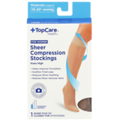 TopCare Moderate Support Sheer Nude Closed-Toe Knee High Compression Stockings For Women, Large