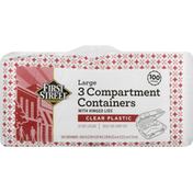 First Street Containers, 3 Compartment, Clear Plastic, Large
