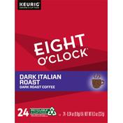 Eight O'Clock Coffee Coffee, Dark Roast, Dark Italian Roast, K-Cup Pods, 24 Pack
