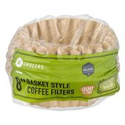 """Southeastern Grocers 8"""" Basket Style Coffee Filters Unbleached - 200 CT"""
